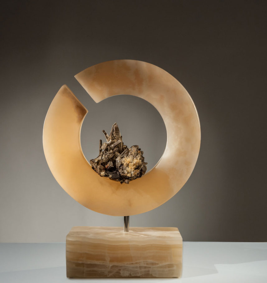 Light Of Self II - Organic, Quartz Crystal Cluster with Hematite and Golden Onyx Sculpture by Fine Artist Dorit Schwartz – Las Vegas