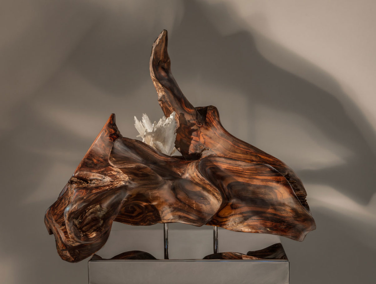 Powerful Emotion - Organic Indonesian Rosewood, Apophyllite Crystal, and Scolecite Sculpture with a Stainless Steel Base and Lights by Fine Artist Dorit Schwartz – Las Vegas