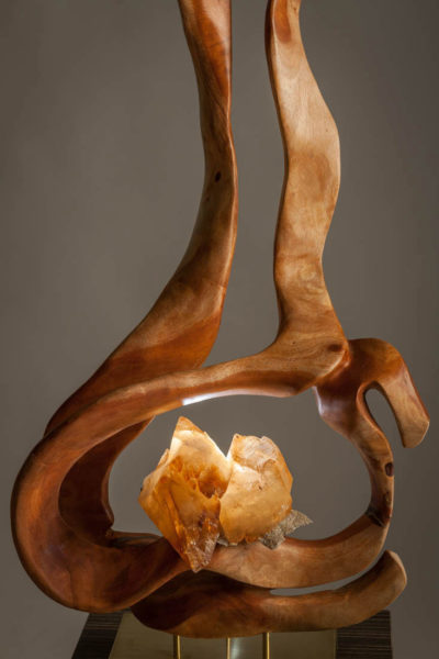 Spiritual Light - Organic Calcite and Zinc Crystals and Mahoni Wood Sculpture with a Brushed Brass Base and Lights by Fine Artist Dorit Schwartz – Las Vegas