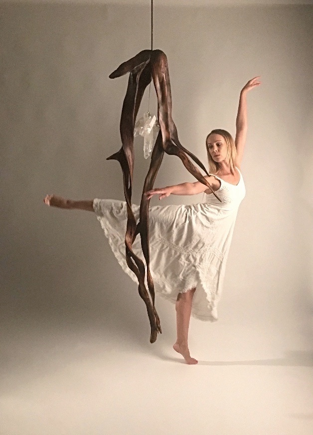 When Lover's Dance with Dancer | Crystal and Indonesian Rosewood Sculpture by Dorit Schwartz