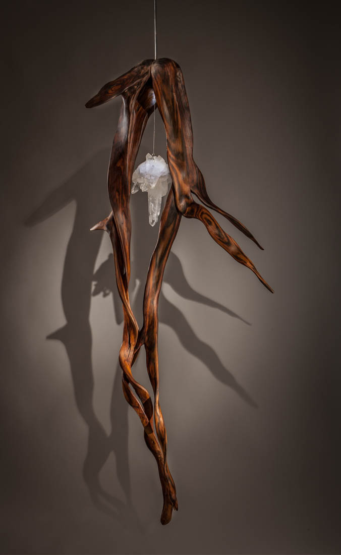 When Lover's Dance | Crystal and Indonesian Rosewood Sculpture by Dorit Schwartz