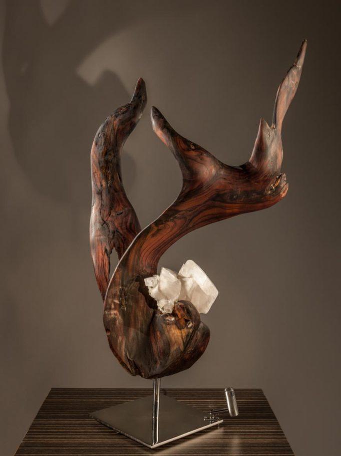 Awakening Crystal Wood Sculpture Dorit Schwartz