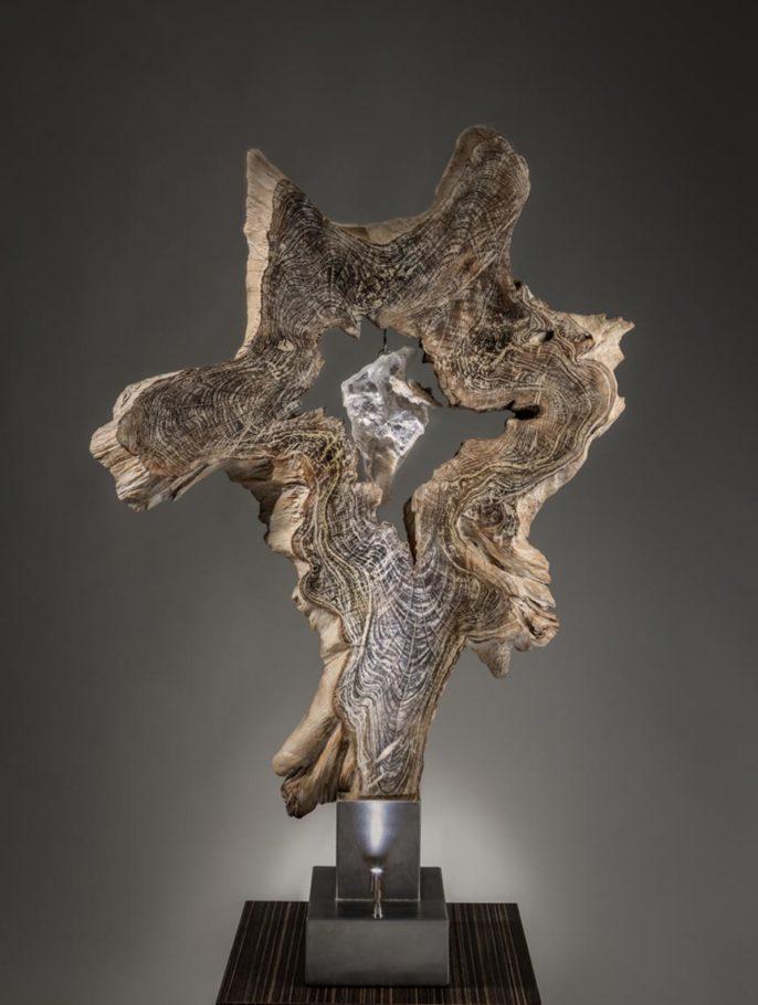 Illumination of the Soul Crystal Wood Sculpture Dorit Schwartz