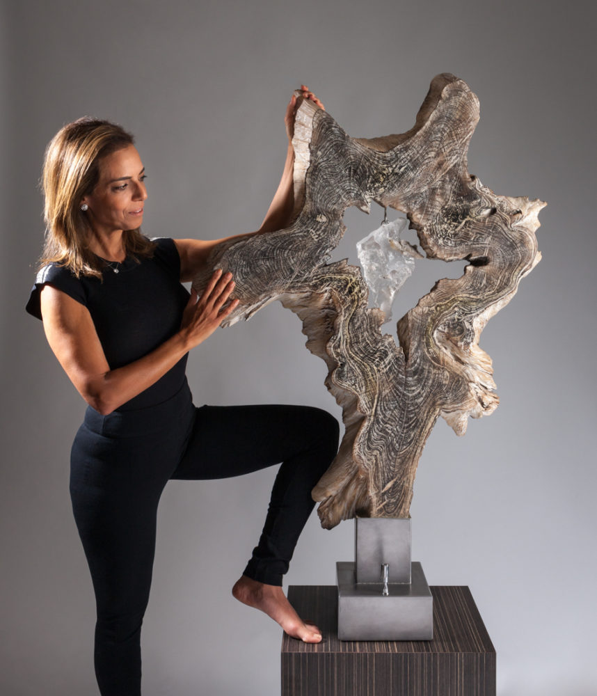 Illumination of the Soul Crystal Wood Sculpture Dorit Schwartz