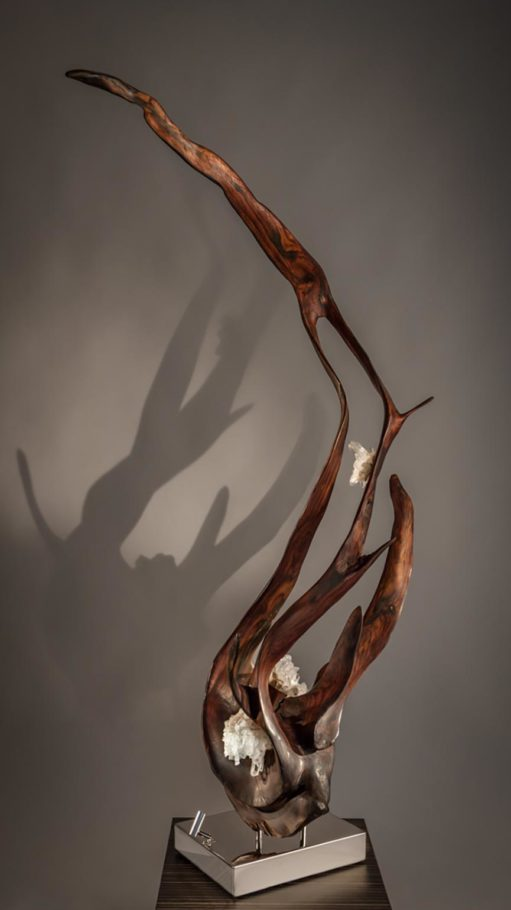 Vine of the Soul II Crystal Wood Sculpture Dorit Schwartz