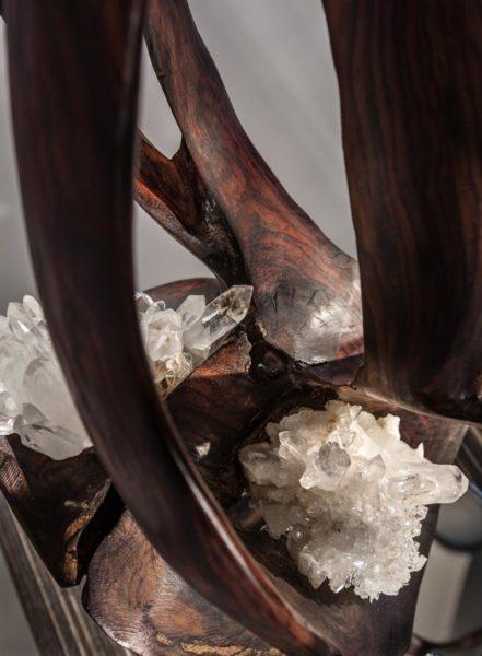 Vine of the Soul II Crystal Wood Sculpture Dorit Schwartz