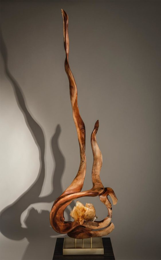 Spiritual Lights Crystal Wood Sculpture Dorit Schwartz