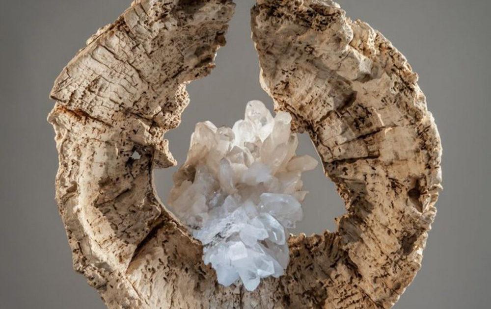 The Matrix - Organic Quartz and Acacia Wood Sculpture by Fine Artist Dorit Schwartz – Las Vegas