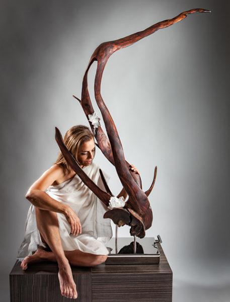 Vine of the Soul II Crystal Wood Sculpture by Dorit Schwartz