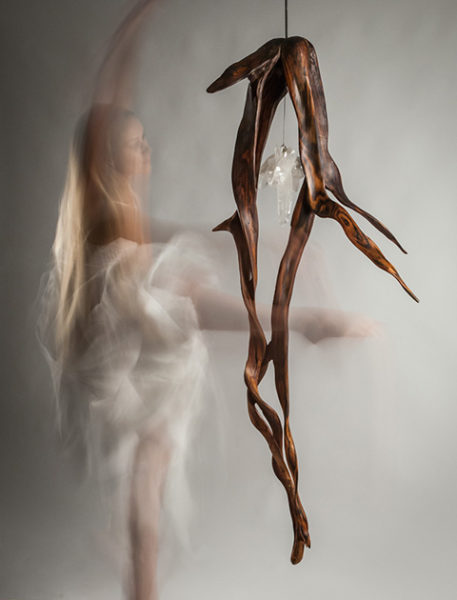 When Lovers Dance with Crystal Wood Sculpture by Dorit Schwartz
