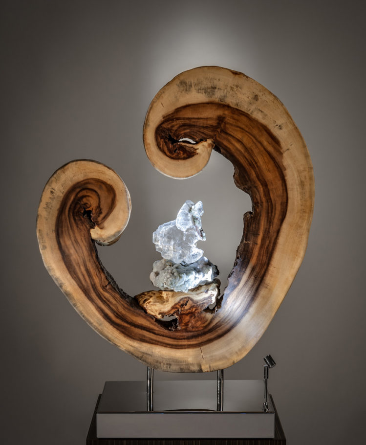 A Moment of Birth Crystal Wood Sculpture Dorit Schwartz