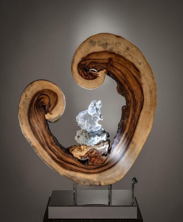 A Moment of Birth Crystal Wood Sculpture Dorit Schwartz