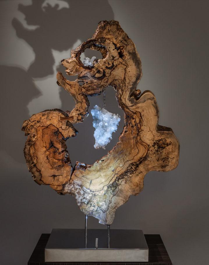 Divine Creation Crystal Wood Sculpture Dorit Schwartz