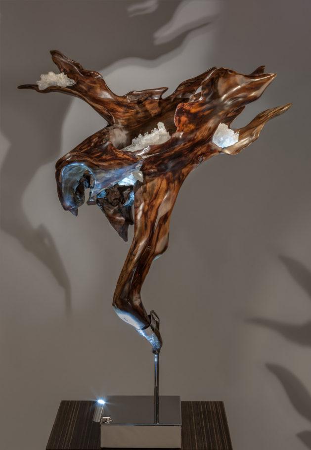 Infinite Flow Crystal Wood Sculpture Dorit Schwartz
