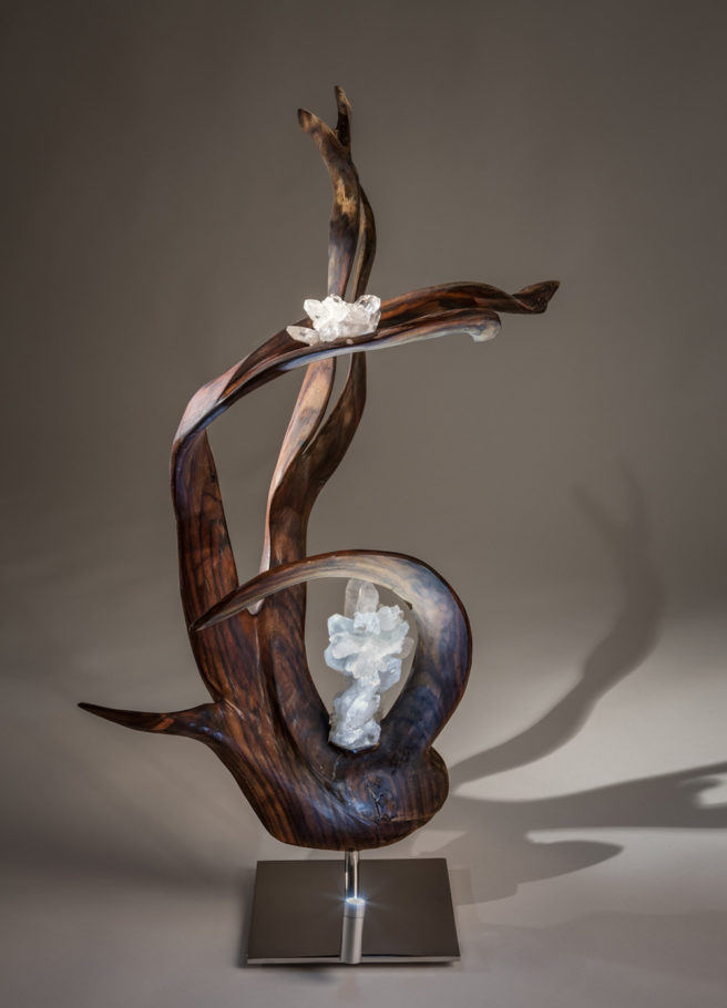 Infinite Grace Crystal Wood Sculpture Dorit Schwartz