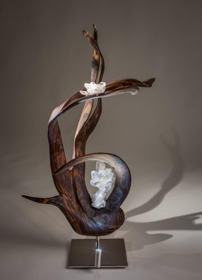 Infinite Grace Crystal Wood Sculpture Dorit Schwartz