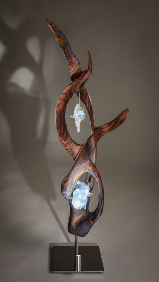 Infinite Light Crystal Wood Sculpture Dorit Schwartz