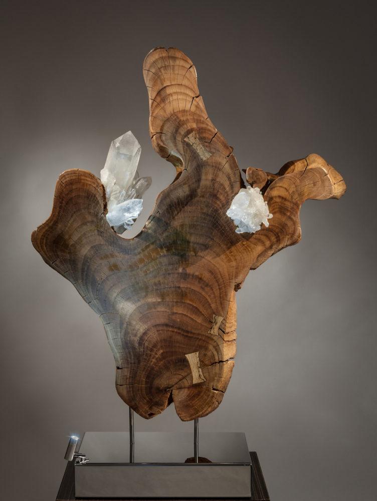 Spark of Love Crystal Wood Sculpture by Dorit Schwartz