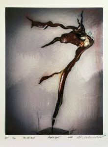 Arabesque by Sculptor Dorit Schwartz MIXED MEDIA on PAPER PRINT One of A Kind LIMITED Collection