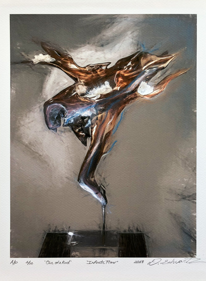 Infinite Flow by Sculptor Dorit Schwartz MIXED MEDIA on PAPER PRINT One of A Kind LIMITED Collection