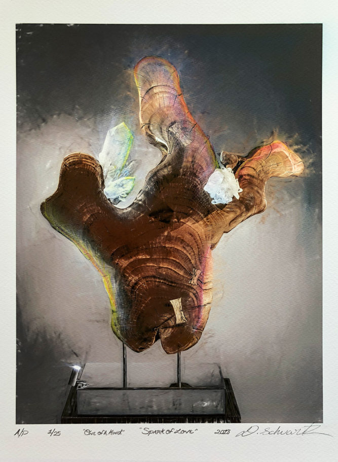 Spark of Love by Sculptor Dorit Schwartz MIXED MEDIA on PAPER PRINT One of A Kind LIMITED Collection