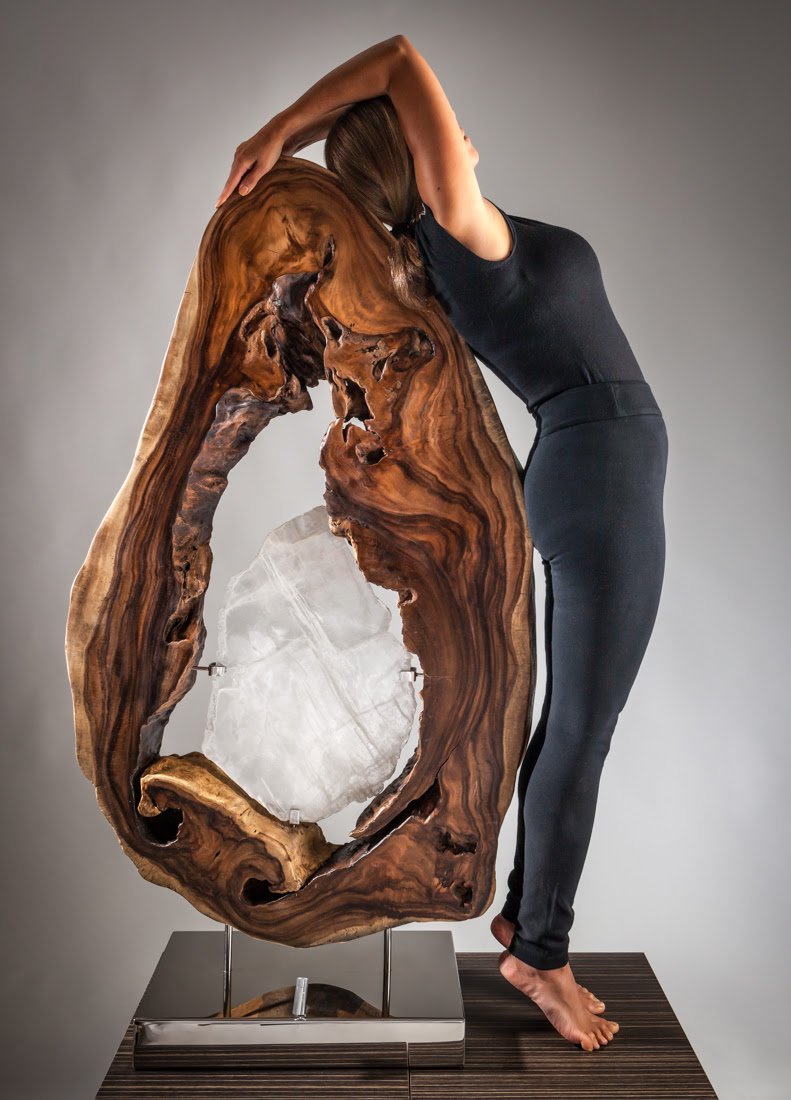 Sharing the Flame by Sculptor Dorit Schwartz Hand-carved Selenite and Acacia Wood