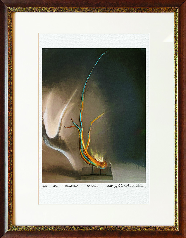Lotus One of A Kind Collection Hand Enhanced Lithographs by Fine Artist Dorit Schwartz Numbered Limited Edition Japanese Series