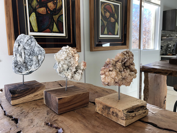 3 crystal clusters sculptor Dorit Schwartz