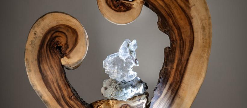 A Moment of Birth Crystal-Wood Sculpture Dorit Schwartz